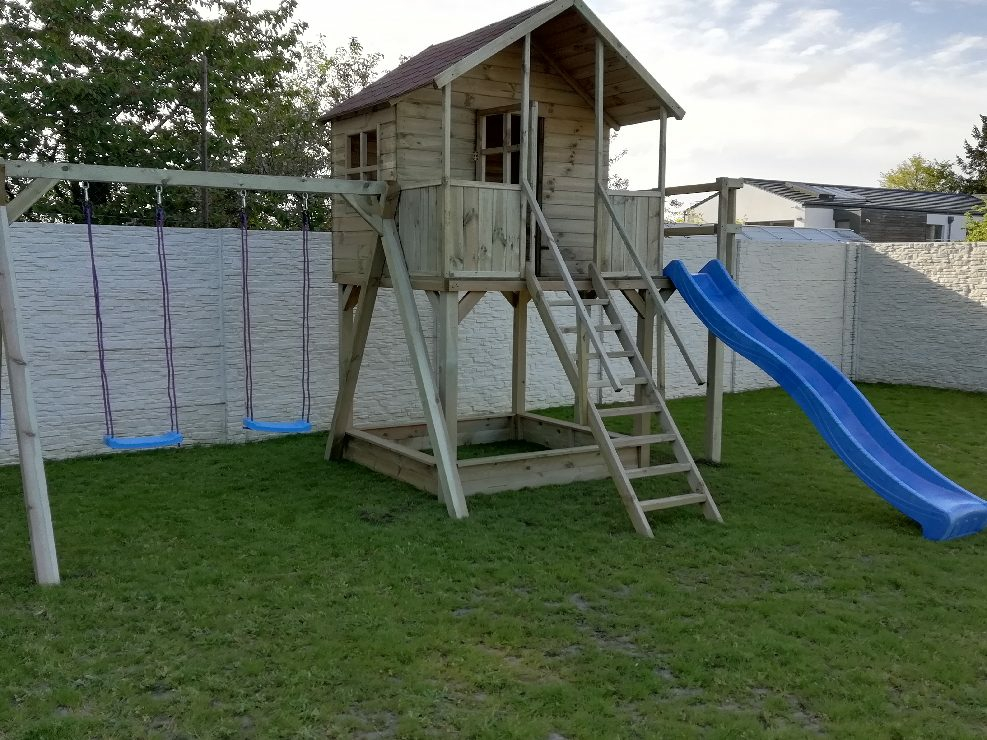 Plac zabaw Marika podwyższana 150cm + 3 metry slizg bez wspinaczki